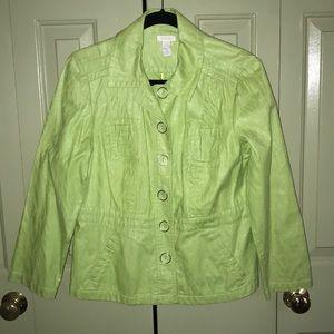 Chico's Cotton Blazer Sz 1 Lime Green